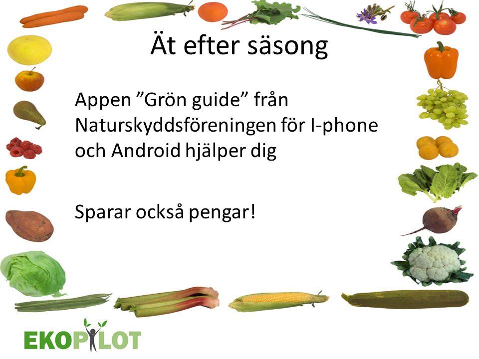 """Ät efter säsong Appen """"Grön guide"""" från Naturskyddsföreningen för I‐phone och Android hjälper dig Sparar också pengar!"""