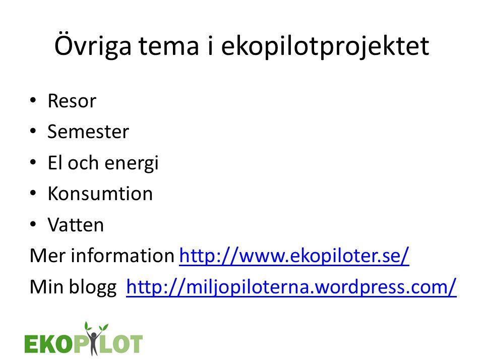 Övriga tema i ekopilotprojektet • Resor • Semester • El och energi • Konsumtion • Vatten Mer information http://www.ekopiloter.se/http://www.ekopilote