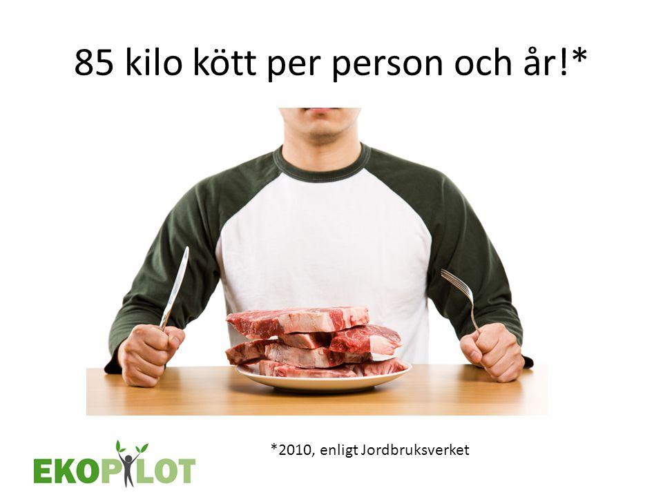 85 kilo kött per person och år!* *2010, enligt Jordbruksverket