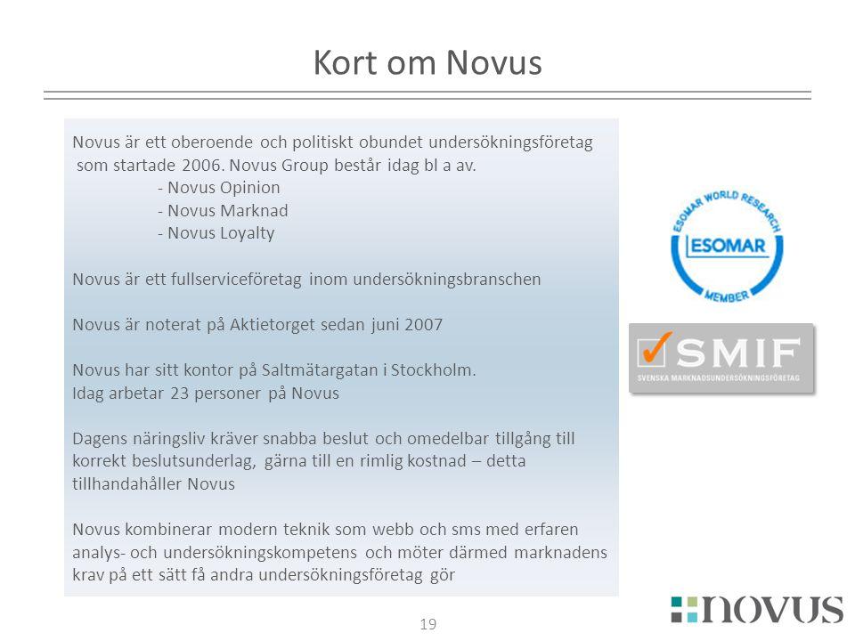 19 Kort om Novus Novus är ett oberoende och politiskt obundet undersökningsföretag som startade 2006. Novus Group består idag bl a av. - Novus Opinion