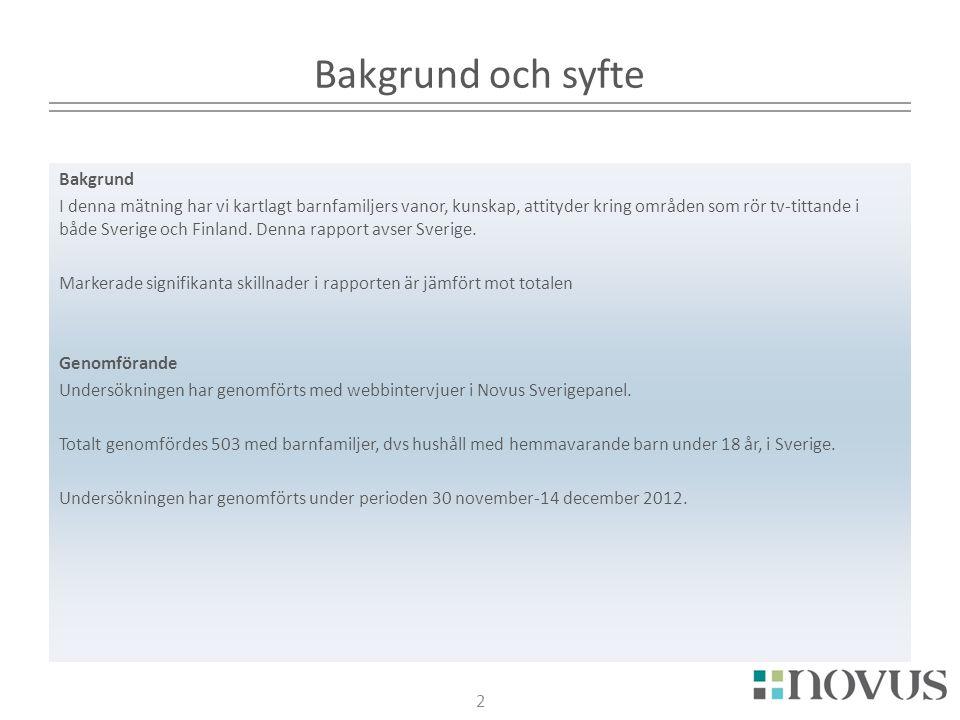 2 Bakgrund och syfte Bakgrund I denna mätning har vi kartlagt barnfamiljers vanor, kunskap, attityder kring områden som rör tv-tittande i både Sverige