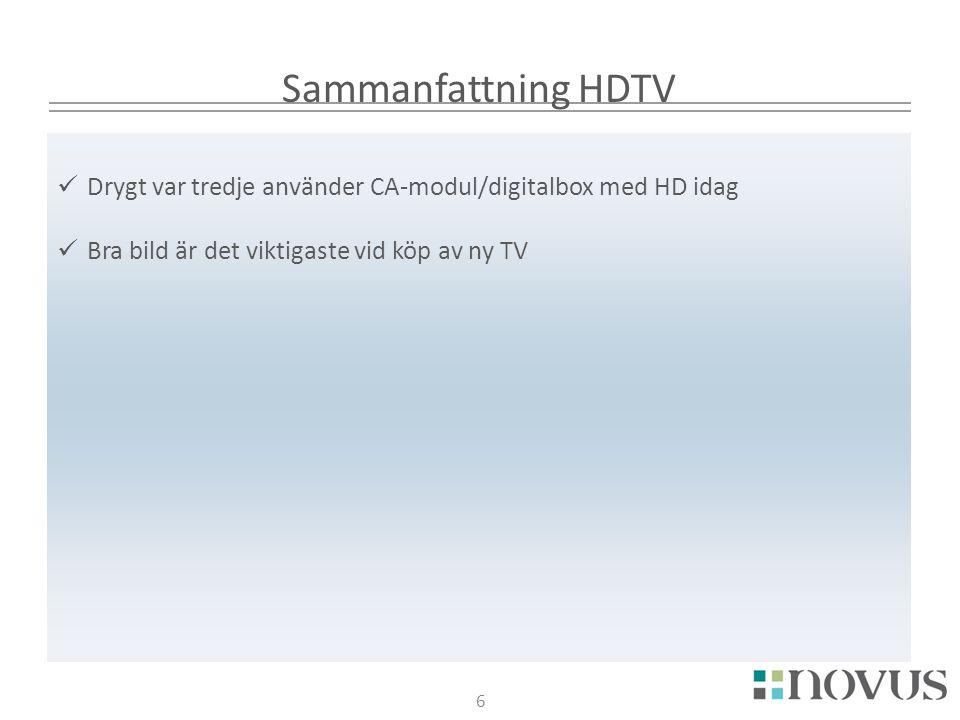 6 Sammanfattning HDTV 6  Drygt var tredje använder CA-modul/digitalbox med HD idag  Bra bild är det viktigaste vid köp av ny TV