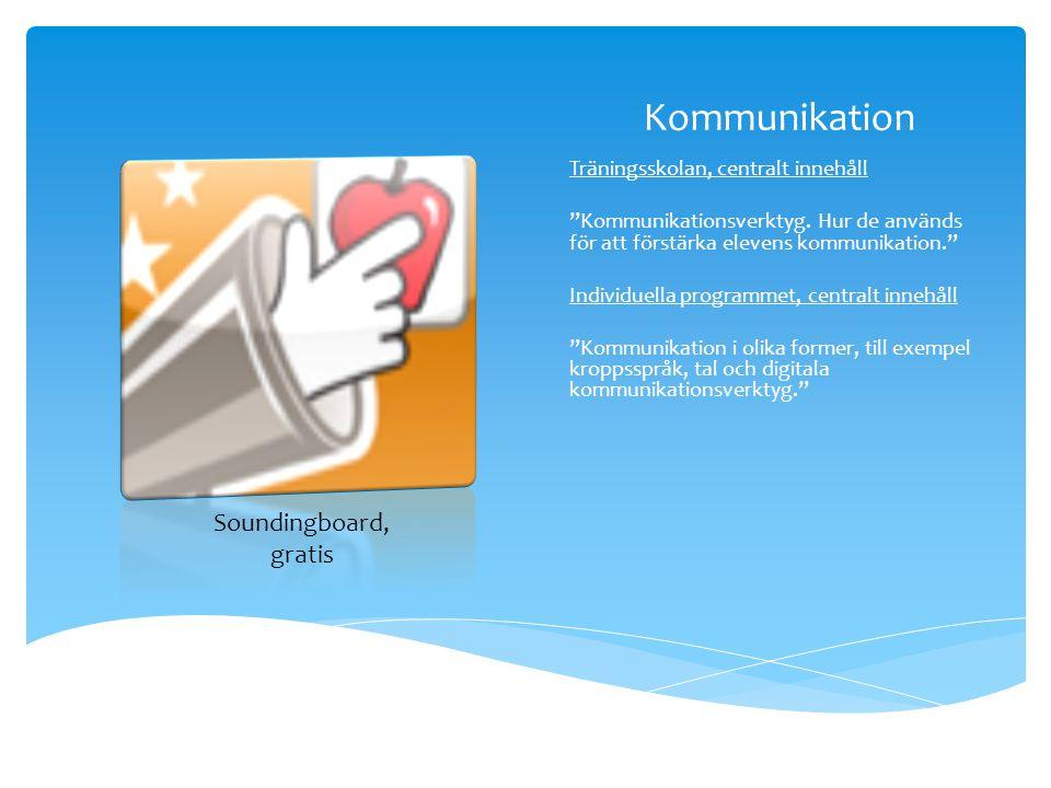 """Kommunikation Träningsskolan, centralt innehåll """"Kommunikationsverktyg. Hur de används för att förstärka elevens kommunikation."""" Individuella programm"""