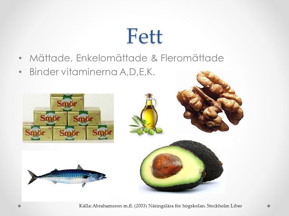 Fett • Mättade, Enkelomättade & Fleromättade • Binder vitaminerna A,D,E,K. Källa: Abrahamsson m.fl. (2003) Näringslära för högskolan. Stockholm Liber