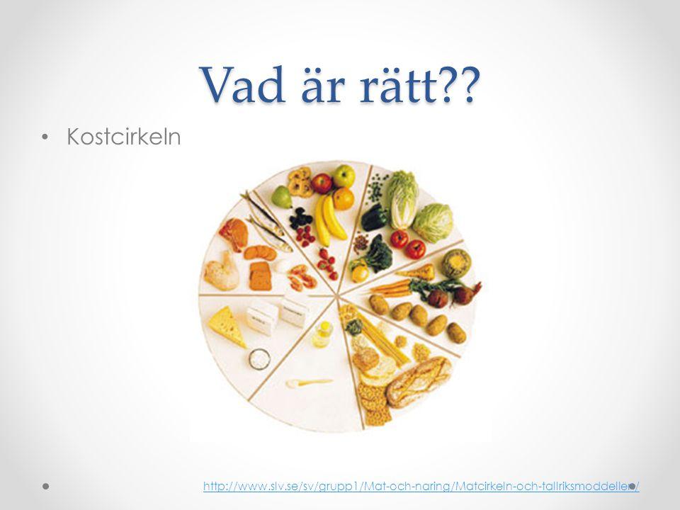 Vad är rätt?? • Kostcirkeln http://www.slv.se/sv/grupp1/Mat-och-naring/Matcirkeln-och-tallriksmoddellen/