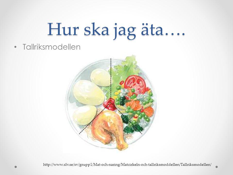 Hur ska jag äta…. • Tallriksmodellen http://www.slv.se/sv/grupp1/Mat-och-naring/Matcirkeln-och-tallriksmoddellen/Tallriksmodellen/