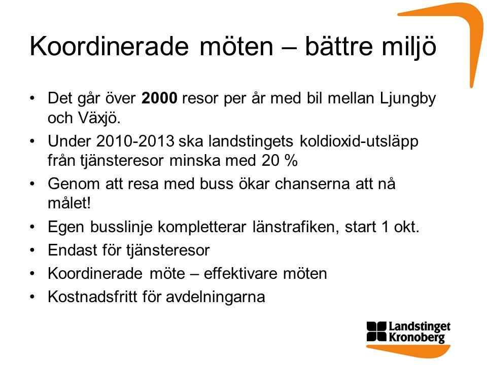 Koordinerade möten – bättre miljö •Det går över 2000 resor per år med bil mellan Ljungby och Växjö.