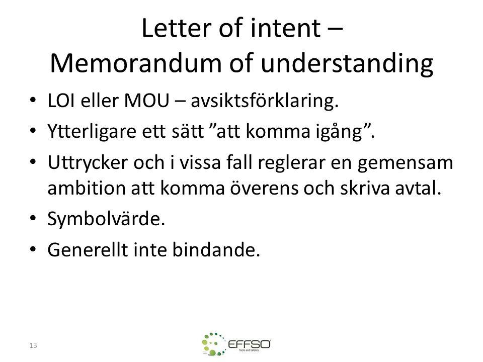 """13 Letter of intent – Memorandum of understanding • LOI eller MOU – avsiktsförklaring. • Ytterligare ett sätt """"att komma igång"""". • Uttrycker och i vis"""