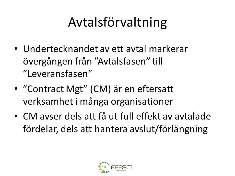 """Avtalsförvaltning • Undertecknandet av ett avtal markerar övergången från """"Avtalsfasen"""" till """"Leveransfasen"""" • """"Contract Mgt"""" (CM) är en eftersatt ver"""