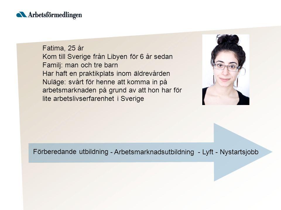 Fatima, 25 år Kom till Sverige från Libyen för 6 år sedan Familj: man och tre barn Har haft en praktikplats inom äldrevården Nuläge: svårt för henne att komma in på arbetsmarknaden på grund av att hon har för lite arbetslivserfarenhet i Sverige Förberedande utbildning - Nystartsjobb- Lyft - Arbetsmarknadsutbildning