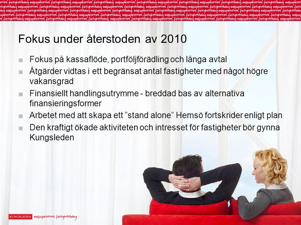 Fokus under återstoden av 2010 ■Fokus på kassaflöde, portföljförädling och långa avtal ■Åtgärder vidtas i ett begränsat antal fastigheter med något hö