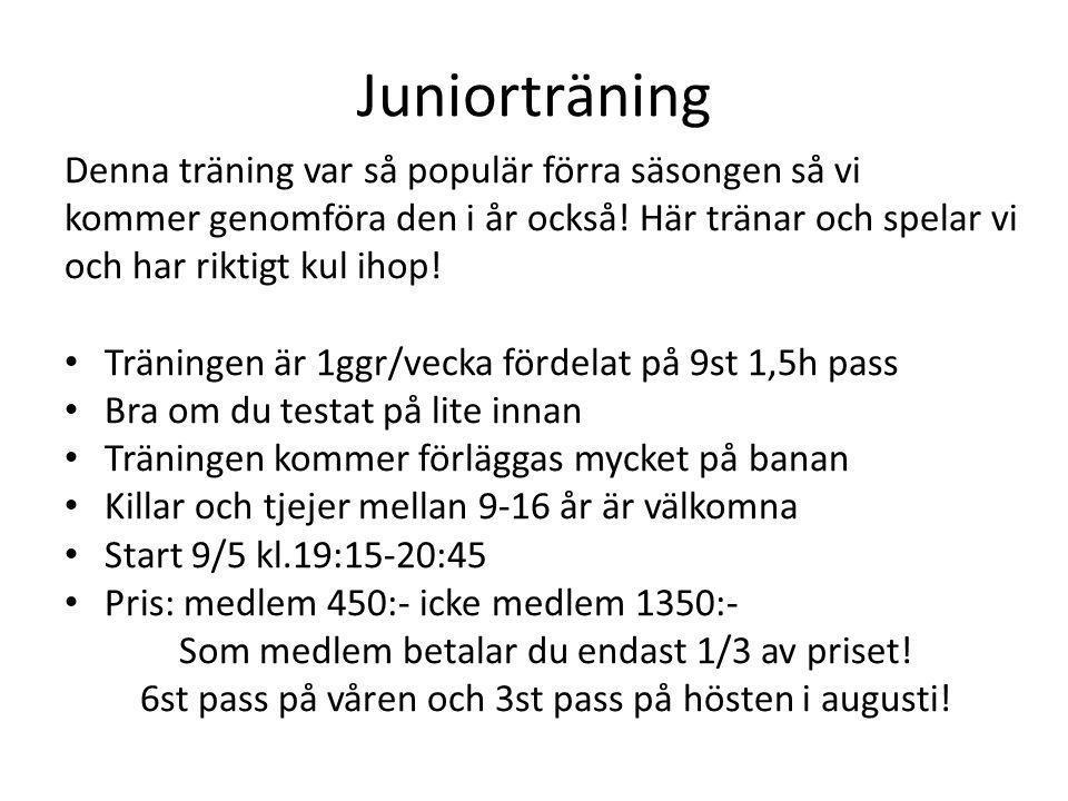 Juniorträning Denna träning var så populär förra säsongen så vi kommer genomföra den i år också! Här tränar och spelar vi och har riktigt kul ihop! •