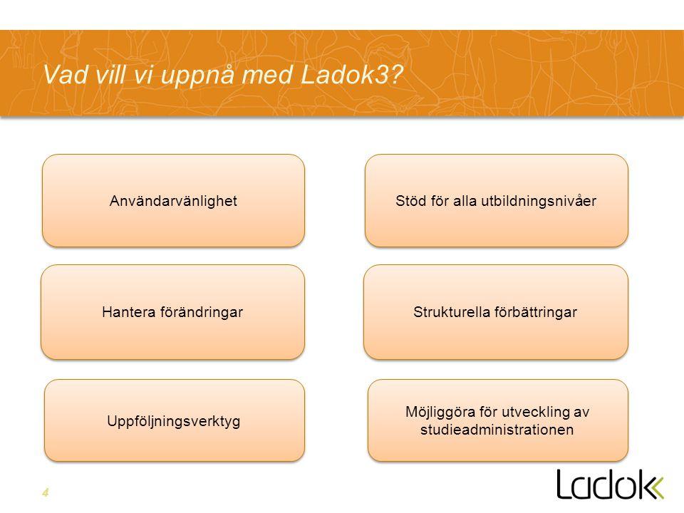 4 Vad vill vi uppnå med Ladok3? Strukturella förbättringar Stöd för alla utbildningsnivåer Möjliggöra för utveckling av studieadministrationen Hantera