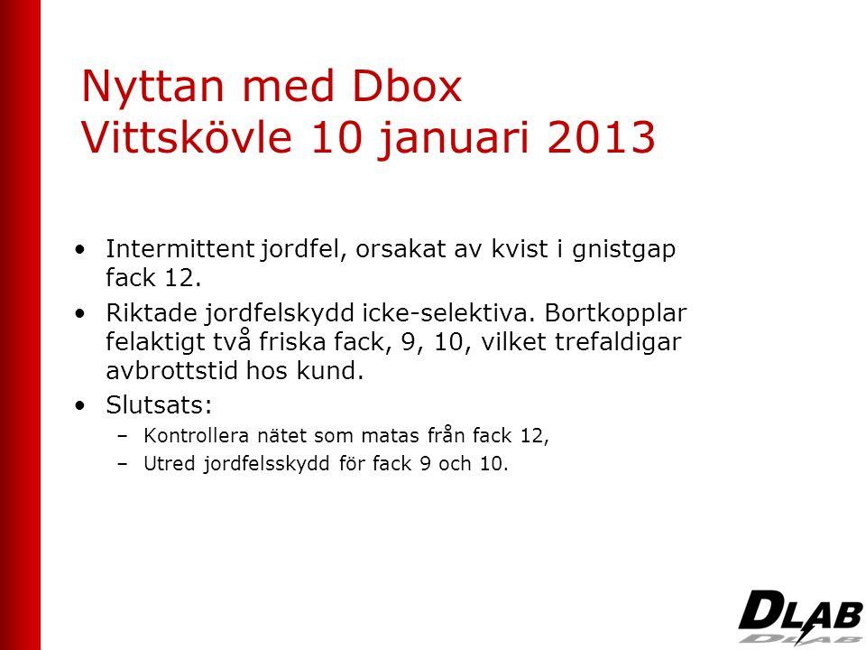 Nyttan med Dbox Vittskövle 10 januari 2013 •Intermittent jordfel, orsakat av kvist i gnistgap fack 12. •Riktade jordfelskydd icke-selektiva. Bortkoppl