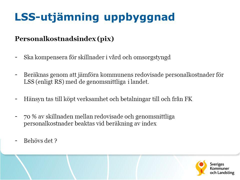 LSS-utjämning uppbyggnad Personalkostnadsindex (pix) - Ska kompensera för skillnader i vård och omsorgstyngd - Beräknas genom att jämföra kommunens re