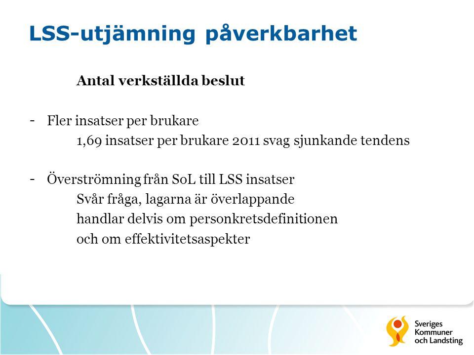 LSS-utjämning påverkbarhet Antal verkställda beslut - Fler insatser per brukare 1,69 insatser per brukare 2011 svag sjunkande tendens - Överströmning
