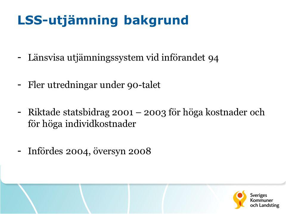 LSS-utjämning bakgrund - Länsvisa utjämningssystem vid införandet 94 - Fler utredningar under 90-talet - Riktade statsbidrag 2001 – 2003 för höga kost