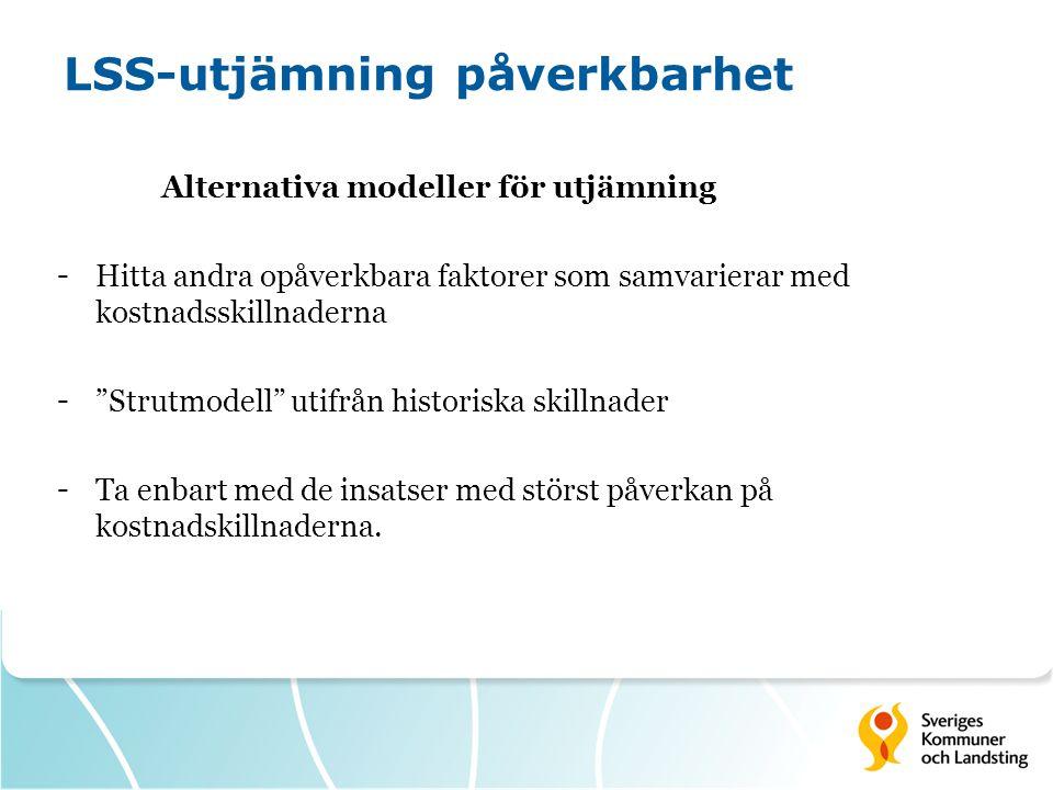 """LSS-utjämning påverkbarhet Alternativa modeller för utjämning - Hitta andra opåverkbara faktorer som samvarierar med kostnadsskillnaderna - """"Strutmode"""