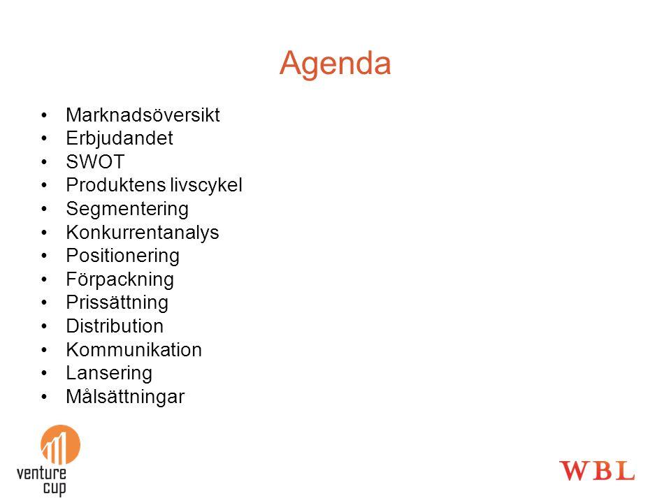 Agenda •Marknadsöversikt •Erbjudandet •SWOT •Produktens livscykel •Segmentering •Konkurrentanalys •Positionering •Förpackning •Prissättning •Distribut