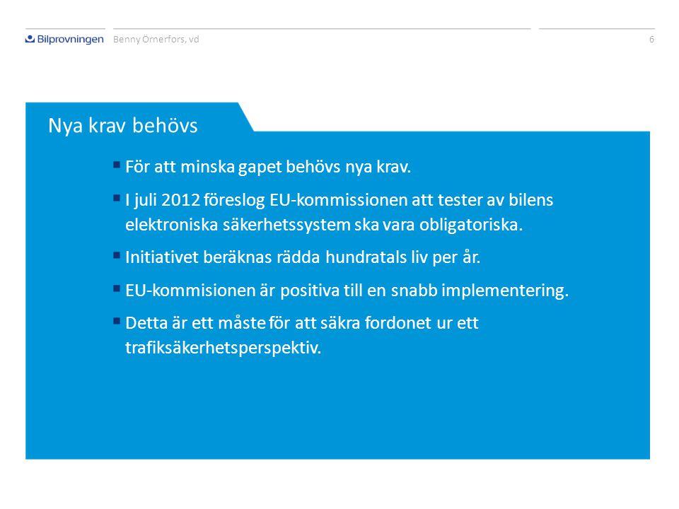 Rubrik 5 Benny Örnerfors, vd Teknisk utveckling Kontrollens täckningsgrad Tid Ökande krav tack vare utvecklingen av elektroniska säkerhetssystem i fordon.