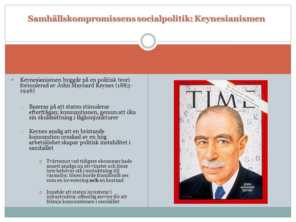  Keynesianismen byggde på en politisk teori formulerad av John Maynard Keynes (1883- 1946)  Baseras på att staten stimulerar efterfrågan; konsumtion