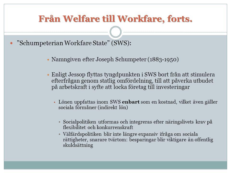 Från Welfare till Workfare, forts.