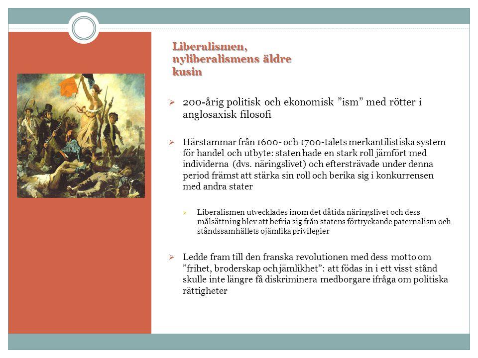 """Liberalismen, nyliberalismens äldre kusin  200-årig politisk och ekonomisk """"ism"""" med rötter i anglosaxisk filosofi  Härstammar från 1600- och 1700-t"""