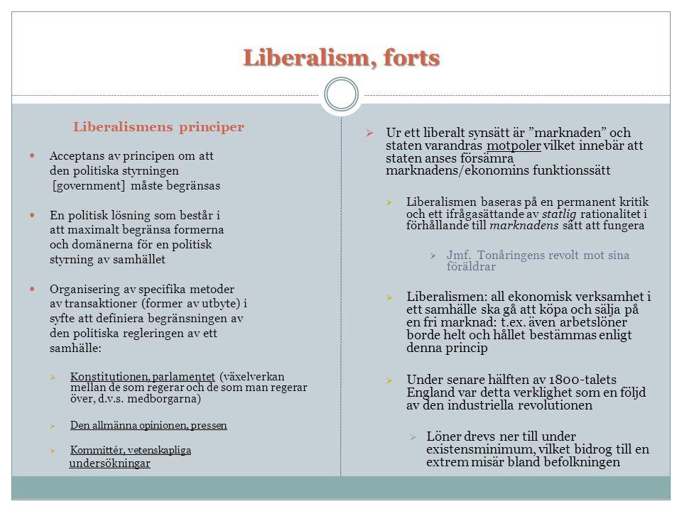 Liberalism, forts Liberalismens principer  Acceptans av principen om att den politiska styrningen [government] måste begränsas  En politisk lösning som består i att maximalt begränsa formerna och domänerna för en politisk styrning av samhället  Organisering av specifika metoder av transaktioner (former av utbyte) i syfte att definiera begränsningen av den politiska regleringen av ett samhälle:  Konstitutionen, parlamentet (växelverkan mellan de som regerar och de som man regerar över, d.v.s.