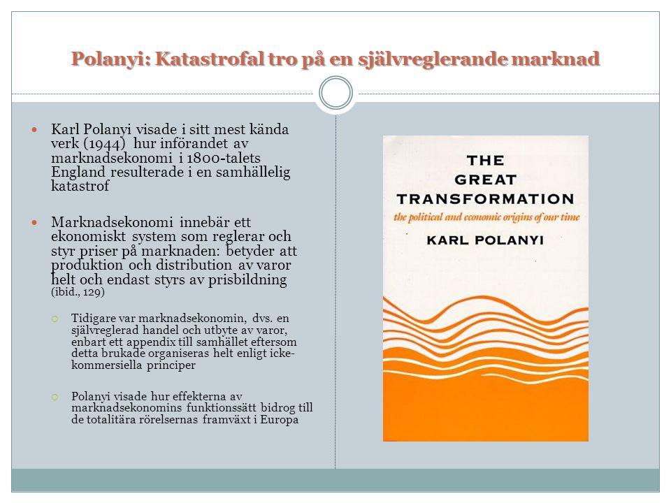 Polanyi: Katastrofal tro på en självreglerande marknad  Karl Polanyi visade i sitt mest kända verk (1944) hur införandet av marknadsekonomi i 1800-ta