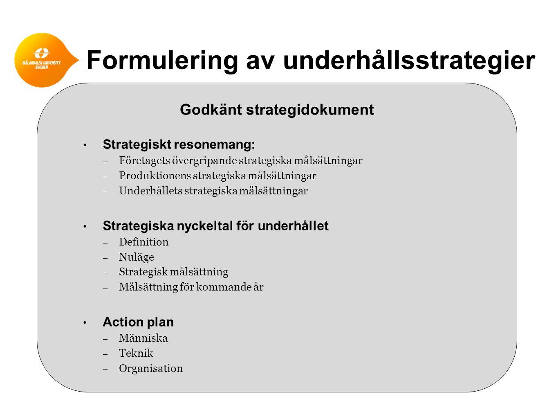 Formulering av underhållsstrategier Godkänt strategidokument • Strategiskt resonemang: – Företagets övergripande strategiska målsättningar – Produktio