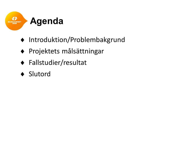 Agenda  Introduktion/Problembakgrund  Projektets målsättningar  Fallstudier/resultat  Slutord