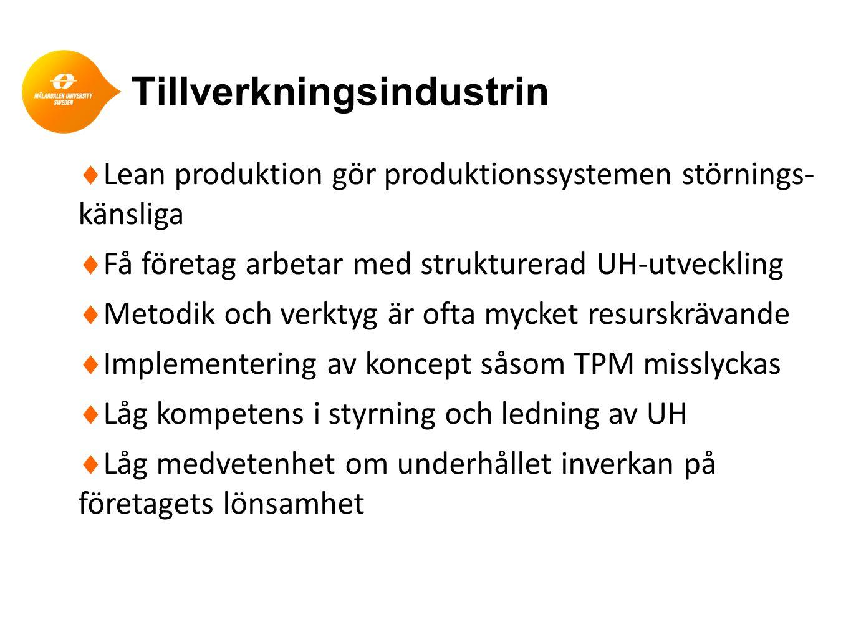 Tillverkningsindustrin  Lean produktion gör produktionssystemen störnings- känsliga  Få företag arbetar med strukturerad UH-utveckling  Metodik och
