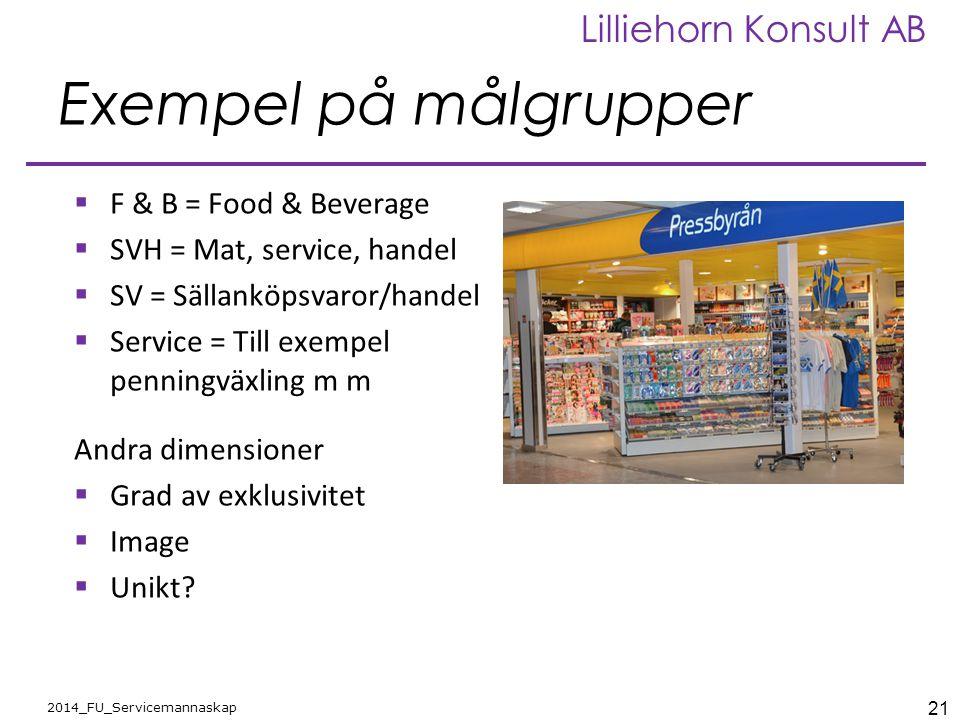 21 2014_FU_Servicemannaskap Lilliehorn Konsult AB Exempel på målgrupper  F & B = Food & Beverage  SVH = Mat, service, handel  SV = Sällanköpsvaror/