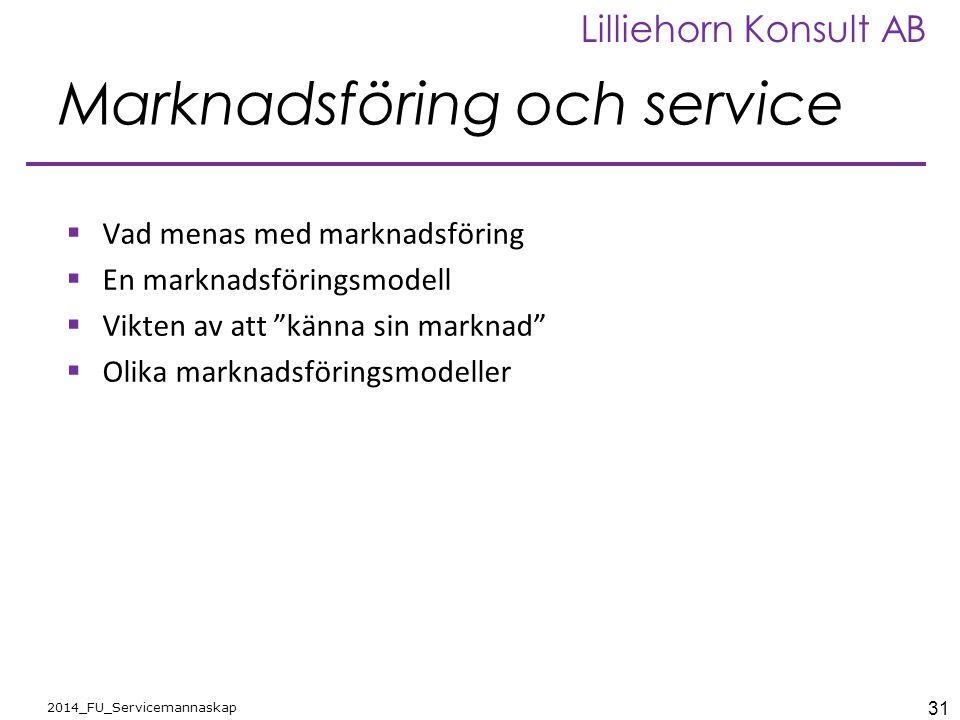 31 2014_FU_Servicemannaskap Lilliehorn Konsult AB Marknadsföring och service  Vad menas med marknadsföring  En marknadsföringsmodell  Vikten av att