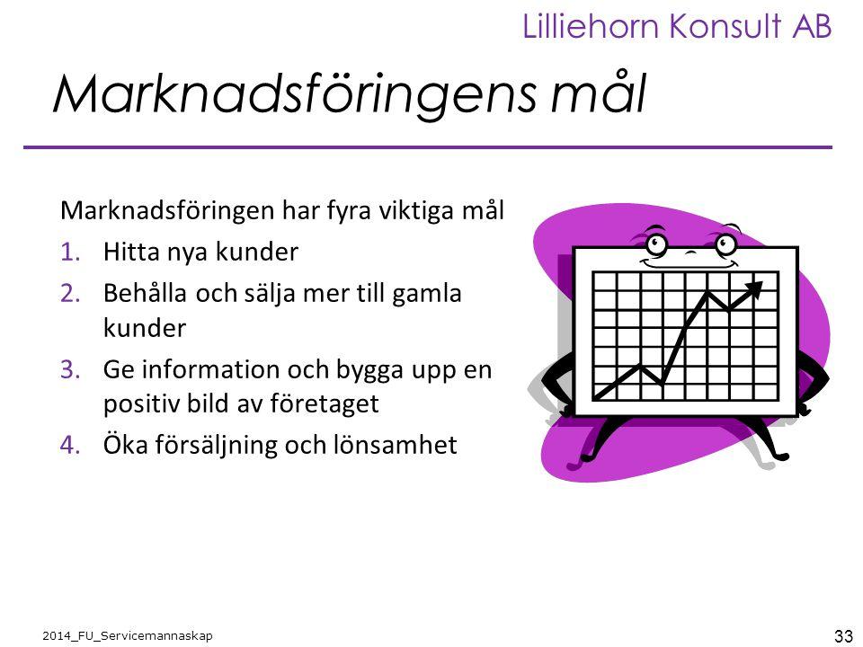 33 2014_FU_Servicemannaskap Lilliehorn Konsult AB Marknadsföringens mål Marknadsföringen har fyra viktiga mål 1.Hitta nya kunder 2.Behålla och sälja m