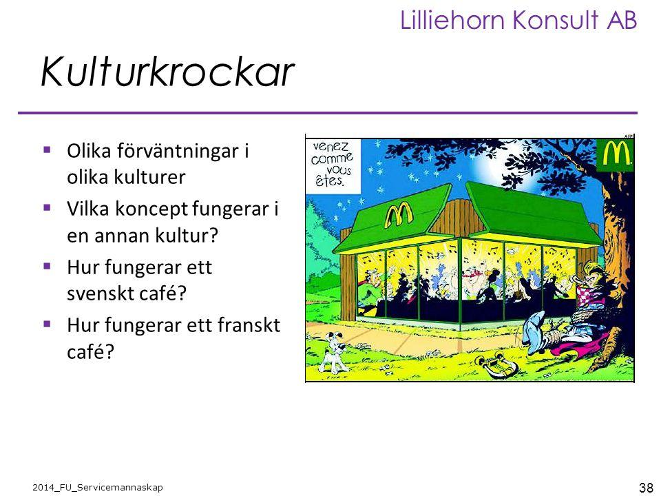 38 2014_FU_Servicemannaskap Lilliehorn Konsult AB Kulturkrockar  Olika förväntningar i olika kulturer  Vilka koncept fungerar i en annan kultur?  H
