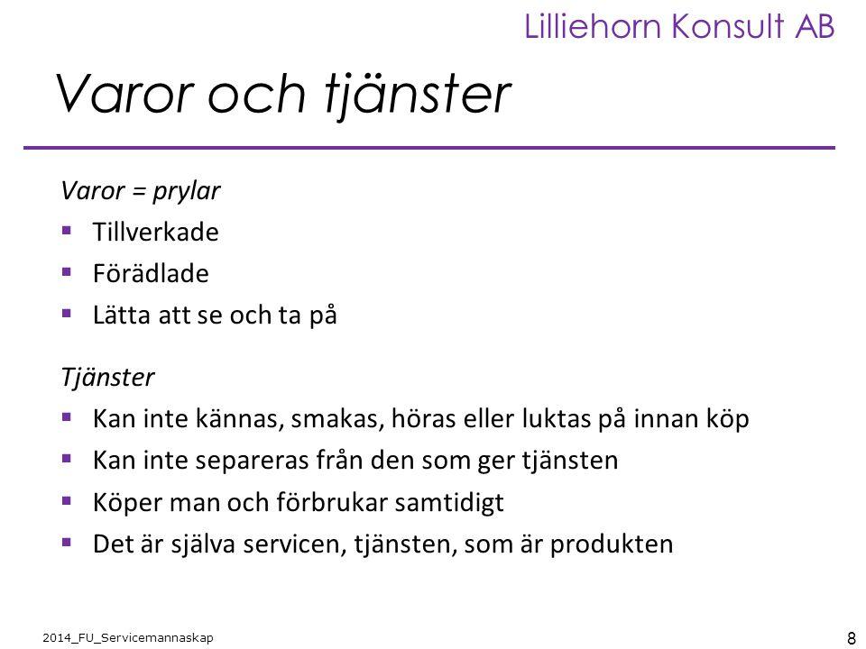 8 2014_FU_Servicemannaskap Lilliehorn Konsult AB Varor och tjänster Varor = prylar  Tillverkade  Förädlade  Lätta att se och ta på Tjänster  Kan i