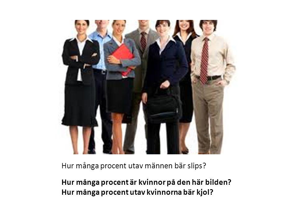 Hur många procent är kvinnor på den här bilden? Hur många procent utav kvinnorna bär kjol? Hur många procent utav männen bär slips?