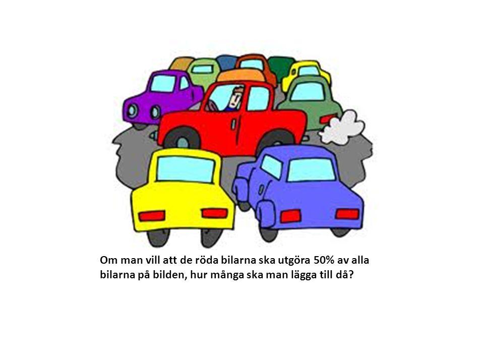 Om man vill att de röda bilarna ska utgöra 50% av alla bilarna på bilden, hur många ska man lägga till då?
