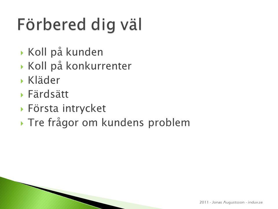  Koll på kunden  Koll på konkurrenter  Kläder  Färdsätt  Första intrycket  Tre frågor om kundens problem 2011 - Jonas Augustsson - induv.se