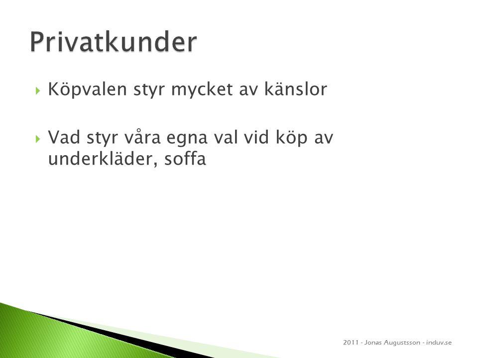  Köpvalen styr mycket av känslor  Vad styr våra egna val vid köp av underkläder, soffa 2011 - Jonas Augustsson - induv.se