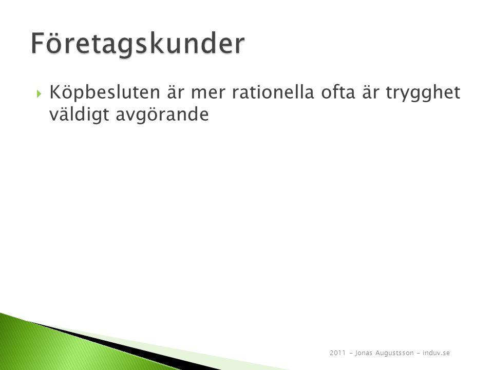  Köpbesluten är mer rationella ofta är trygghet väldigt avgörande 2011 - Jonas Augustsson - induv.se