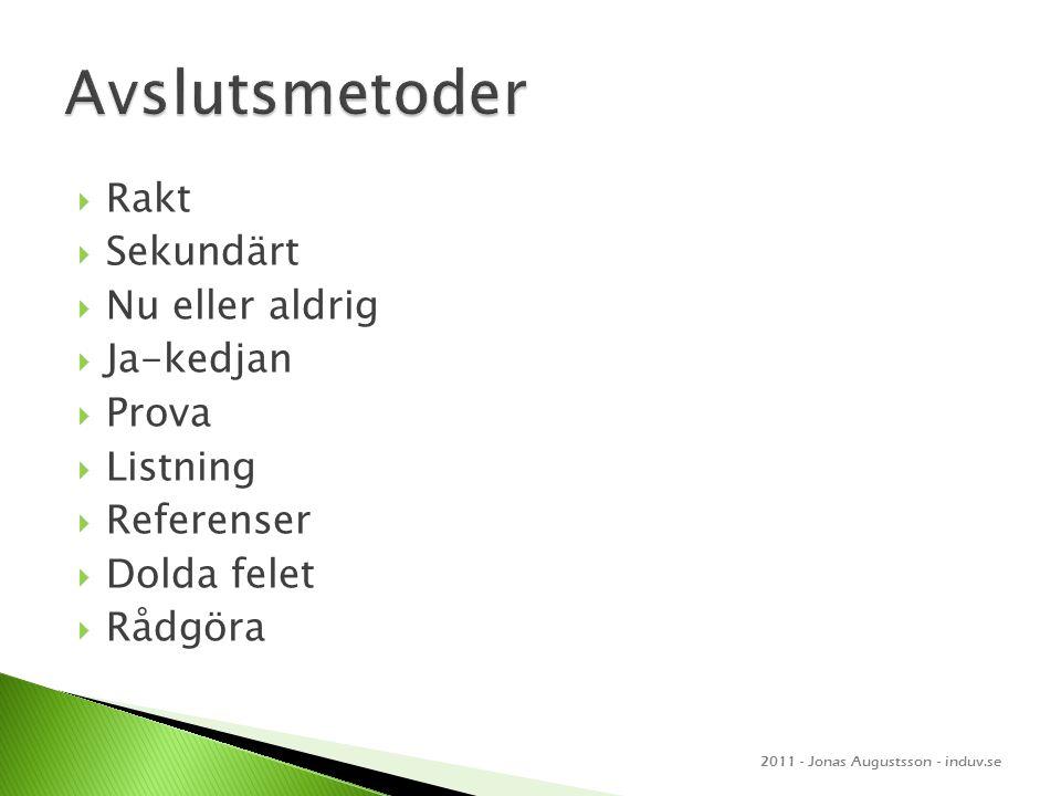  Rakt  Sekundärt  Nu eller aldrig  Ja-kedjan  Prova  Listning  Referenser  Dolda felet  Rådgöra 2011 - Jonas Augustsson - induv.se