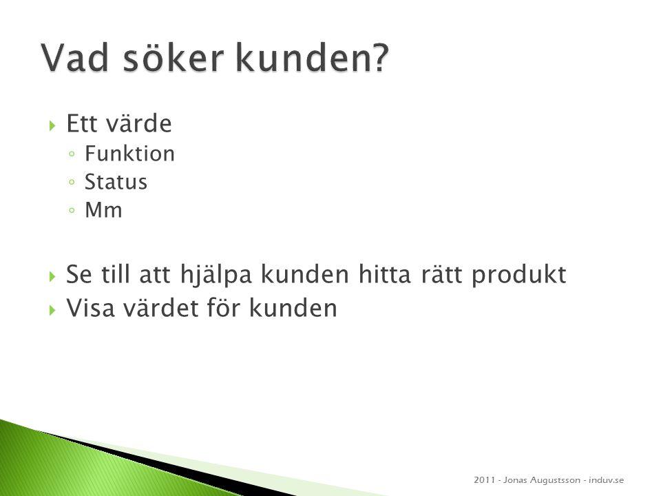  Ett värde ◦ Funktion ◦ Status ◦ Mm  Se till att hjälpa kunden hitta rätt produkt  Visa värdet för kunden 2011 - Jonas Augustsson - induv.se