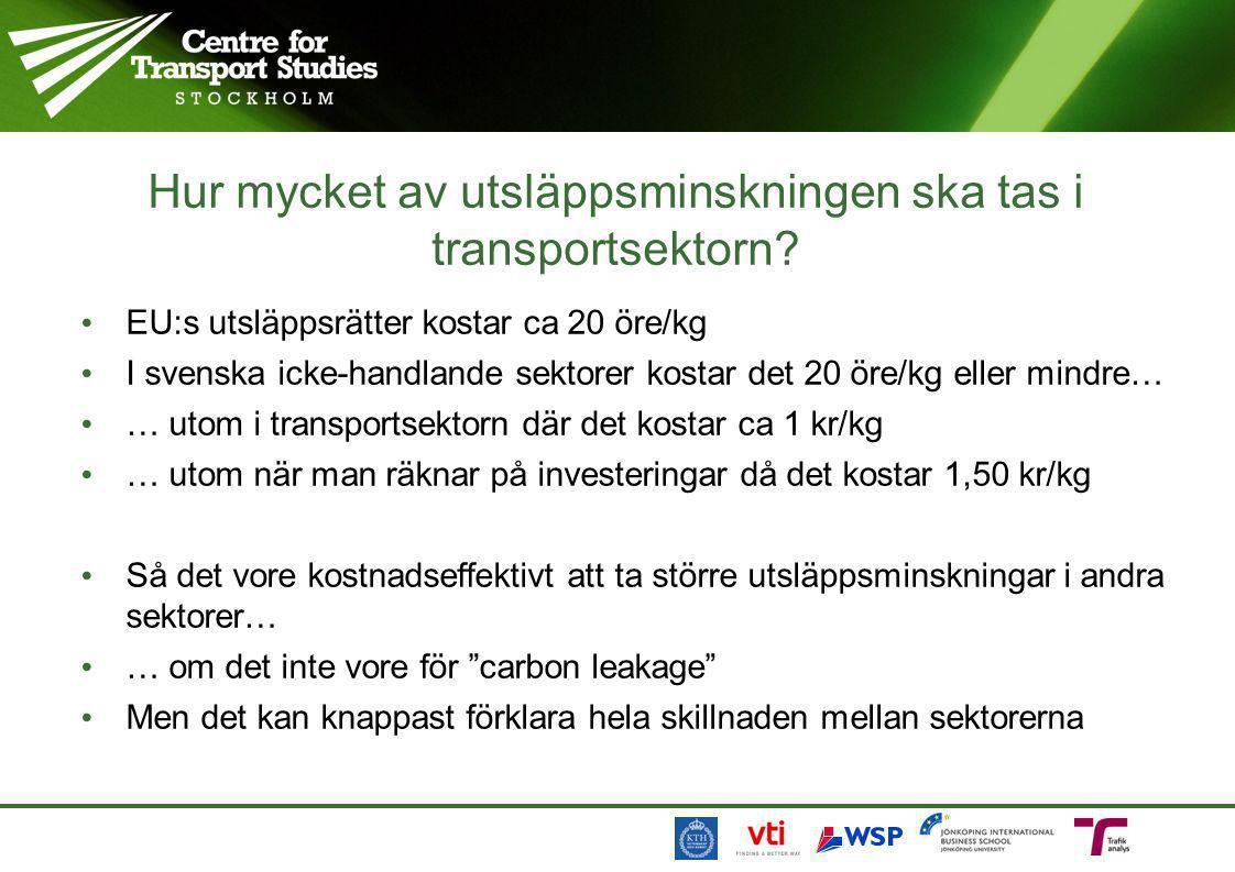 Hur mycket av utsläppsminskningen ska tas i transportsektorn? • EU:s utsläppsrätter kostar ca 20 öre/kg • I svenska icke-handlande sektorer kostar det