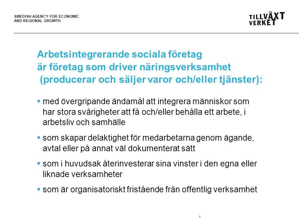 SWEDISH AGENCY FOR ECONOMIC AND REGIONAL GROWTH Arbetsintegrerande sociala företag är företag som driver näringsverksamhet (producerar och säljer varor och/eller tjänster):  med övergripande ändamål att integrera människor som har stora svårigheter att få och/eller behålla ett arbete, i arbetsliv och samhälle  som skapar delaktighet för medarbetarna genom ägande, avtal eller på annat väl dokumenterat sätt  som i huvudsak återinvesterar sina vinster i den egna eller liknade verksamheter  som är organisatoriskt fristående från offentlig verksamhet 1