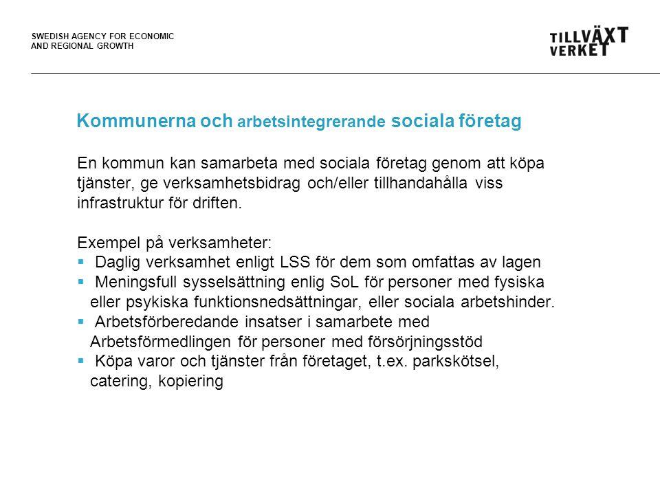 SWEDISH AGENCY FOR ECONOMIC AND REGIONAL GROWTH  För stora upphandlingsobjekt  Upphandlingsprocessen upplevs för komplicerad och för snabb  Svårt att konkurrera med stora leverantörer  Tjänsterna man levererar stämmer inte helt överens med det som upphandlas www.sofisam.se Hinder för arbetsintegrerande sociala företag i offentlig upphandling