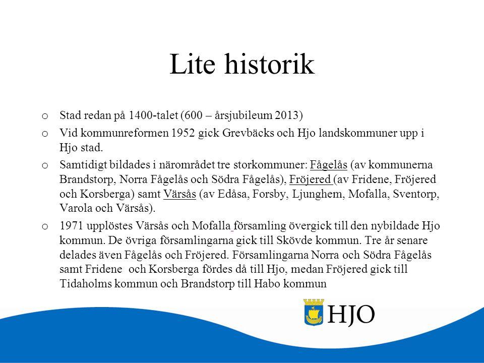 Lite historik o Stad redan på 1400-talet (600 – årsjubileum 2013) o Vid kommunreformen 1952 gick Grevbäcks och Hjo landskommuner upp i Hjo stad. o Sam