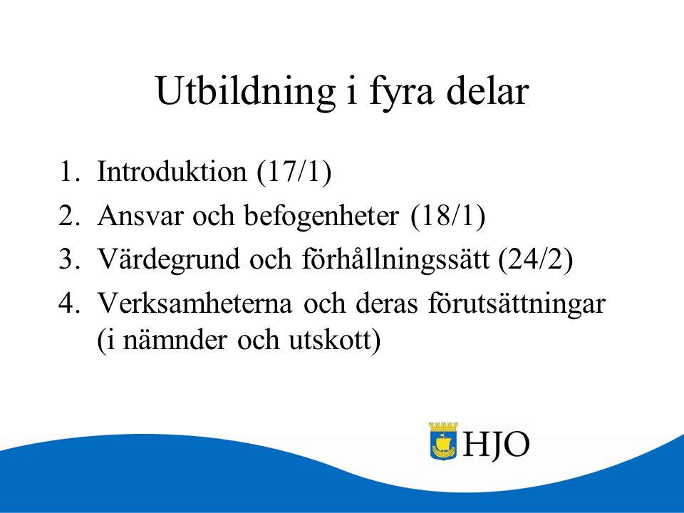 Utbildning i fyra delar 1.Introduktion (17/1) 2.Ansvar och befogenheter (18/1) 3.Värdegrund och förhållningssätt (24/2) 4.Verksamheterna och deras för