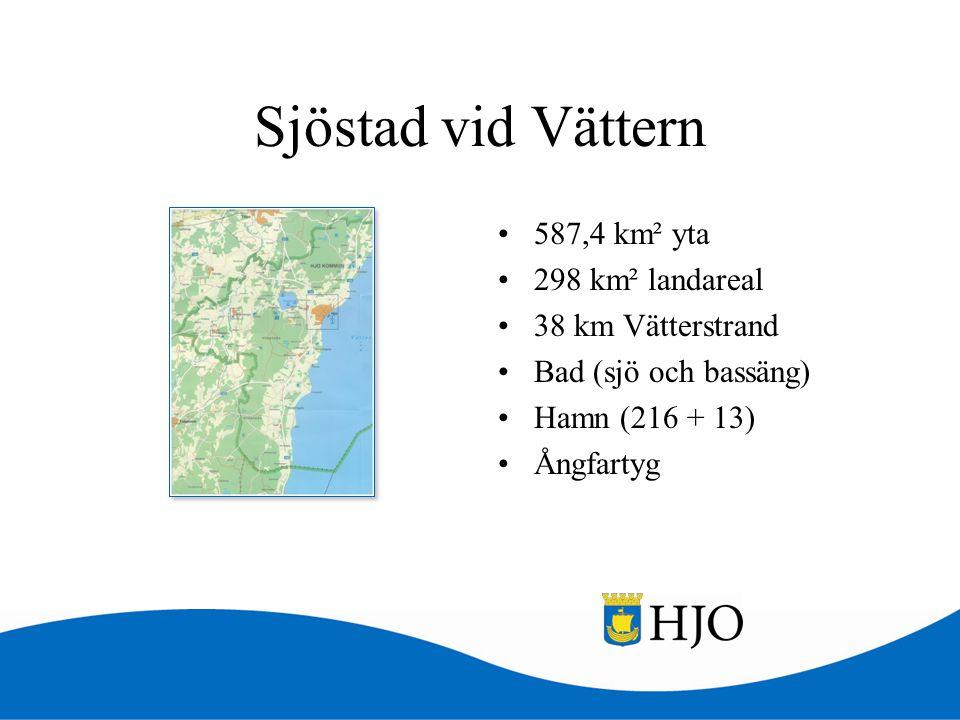 Sjöstad vid Vättern •587,4 km² yta •298 km² landareal •38 km Vätterstrand •Bad (sjö och bassäng) •Hamn (216 + 13) •Ångfartyg
